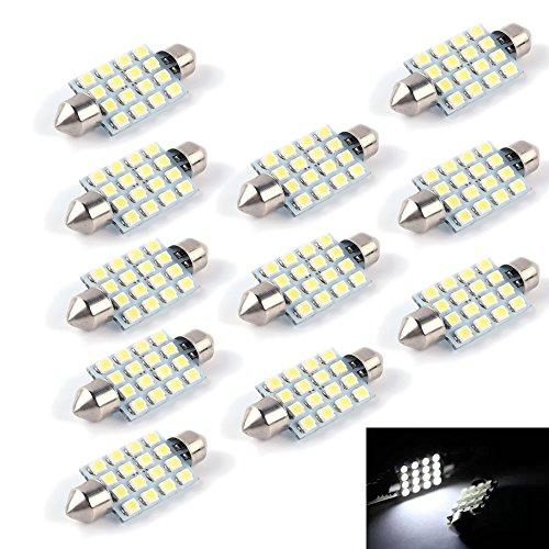 PolarLander 10 PCS Festoon LED 41mm 3528 1210 SMD 16 LED Lumière Blanche Dôme Lumière C5W 16SMD Auto Voiture Dôme Lampe de Lecture