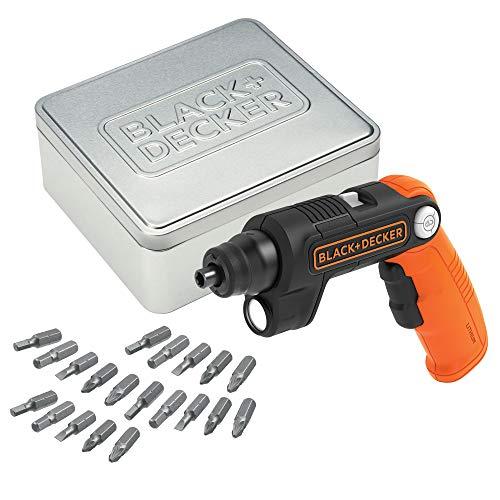 BLACK+DECKER - Tournevis Electrique BDCSFL20AT-QW - 3.6V, 180 tr/min, 5.5 Nm, Lampe LED Intégrée, Poignée 3 Positions, Orange - 1 Boite Métallique, 20 Embouts de Vissage, 1 Chargeur