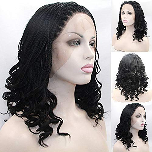 Karissa Hair Natural Black Braided Synthetic Lace Front Wigs for Women Free Part Boxed Braided Lace Wig with Baby Hair Glueless Heat Resistant Cosplay Wig 14inch