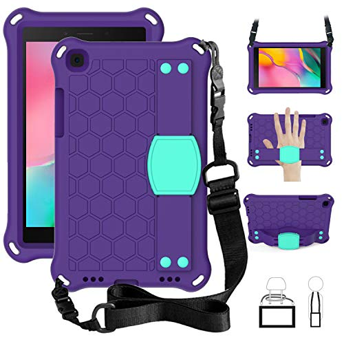 TabPow Kids Case for Samsung Galaxy Tab A 8.0 2019 T290 / T295, Kidsproof Tablet Cover with Shoulder Strap and Stand, Hand Grip - Purple Teal
