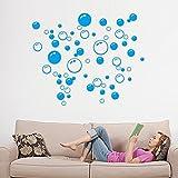 HINK Autocollant Bulles Cercle Amovible Papier Peint Mural Salle de Bain fenêtre Autocollant décalcomanie Maison Bleu Maison et Jardin décor à la Maison