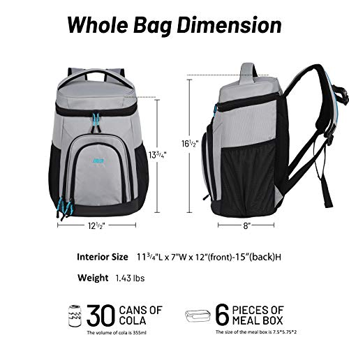 MIER Insulated Lunch Backpack Leakproof Soft Cooler for Men Women to Beach, Travel, Picnic, Hiking, Work,30 Can, Gray