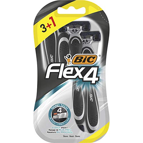 BIC Flex4 Maquinillas de Afeitar Desechables para Hombre - Blíster de 3+1, Estándar