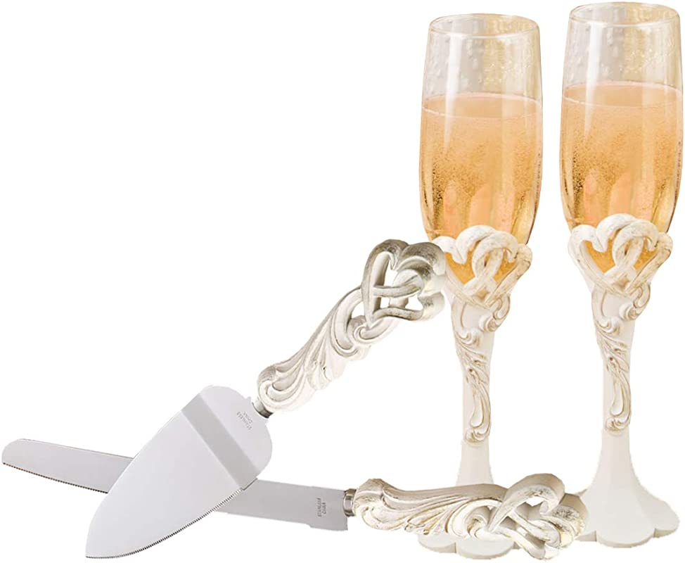 Fashioncraft Vintage Double Heart Design Wedding Cake Knife And Server Set With Toasting Glass Flute Set Ivory