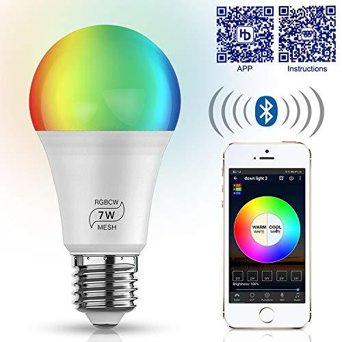 Bluetooth RGBWC LED Lampe, dimmbare 7W E27 RGBW+CCT Sync mit Musik farbwechsel Glühbirne mit APP,ersetzt 60W Glühbirne,16 Millionen Farben Leuchtmittel für Haus Dekoration, Bar, Party, KTV Bühne