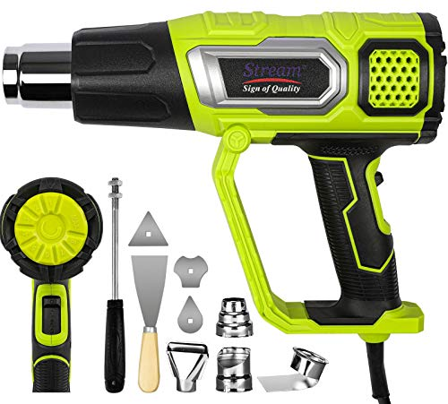 2000w Heat Gun, Handheld Hot Air Gun Variable Temperature 50℃- 600℃,3 Temperature Modes & 2 Wind Model & 4 Nozzle Accessories for DIY, Stripping Paint, Shrinking PVC, Wrapping, Embossing