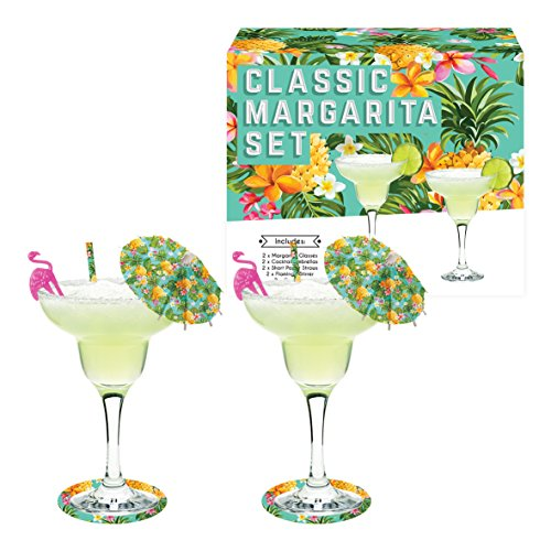 Vintage Kitchen Company Cocktail Margarita Glasses Gift Set, Trasparente, Set di 2