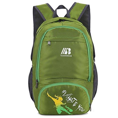 Rabattable d'alpinisme sac à dos petite capacité grand espace imperméable à l'eau léger sac à dos portable escalade randonnée voyage d'équitation sac d'ordinateur étudiant , green