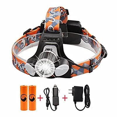 Waterproof Headlamp LED ,3000 Lumen Brightness Helmet Light Headlight with Rechargeable Batteries 18650 Battery 4200mAh and Car Charger, Wall Charger for Camping Riding Fishing Hunting