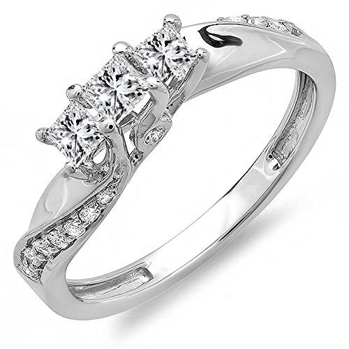 Dazzlingrock Collection 0.50 Carat (ctw) 10K Princess & Round Diamond 3 Stone Engagement Ring 1/2 CT, White Gold, Size 7