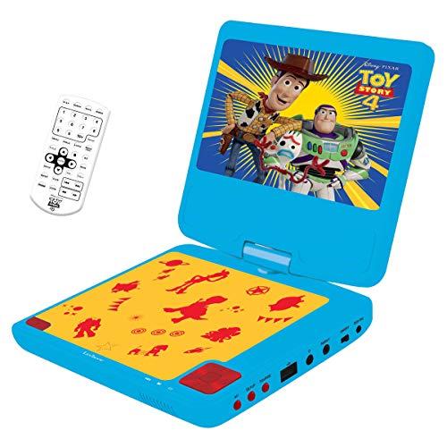"Lexibook Disney Toy Story 4, Woody, Buzz & Forky Die Eiskönigin ELSA Tragbarer DVD-Spieler, 7"" LCD, 2 Lautsprecher, Akku, blau/gelb, DVDP6TS, Bleu/Yellow"