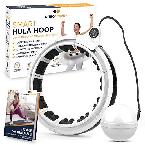 NitroActivity Hula Hoop Smart - Aro de fitness con peso para principiantes, con puntos de masaje para adelgazar, Hoola Hup con contador LED, incluye libro electrónico gratuito