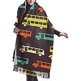 Elaine-Shop Colorido Retro Bus Mujer Casual 's Cashmere Shawl Wraps Bufanda grande de invierno