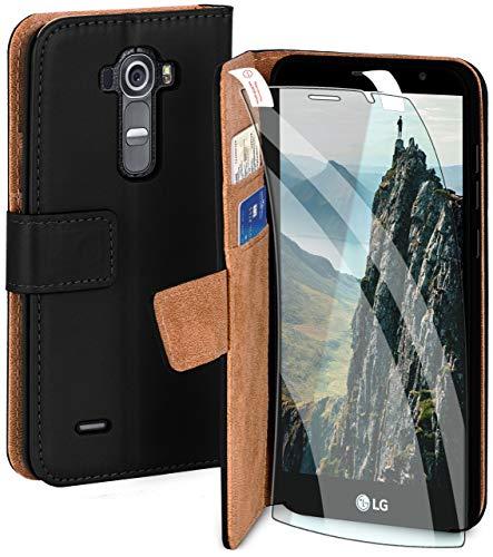 moex Handyhülle für LG G4 - Hülle mit Kartenfach, Geldfach & Ständer, Klapphülle, PU Leder Book Hülle & Schutzfolie - Schwarz