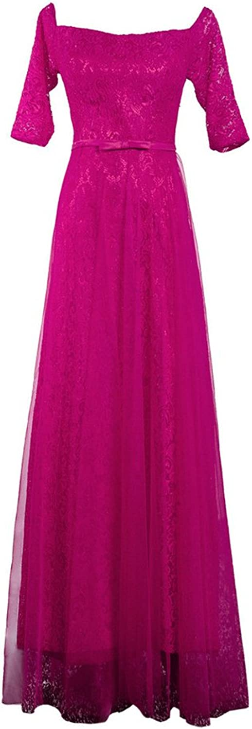 APXPF Women's Sleeves Lace Tulle Evening Party Bridesmaid Homecoming Dress