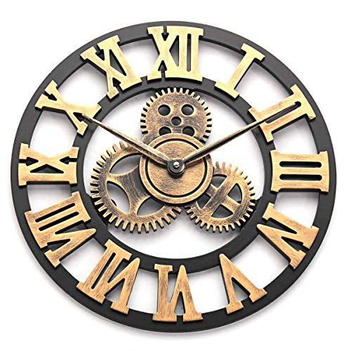 ZHIFENG 40cm Retro Vintage Handmade Large Wall Clock 3D Handmade Wooden Wall Hanging Clock Living Room Decoration Gift (Gold-Roman, 16in)