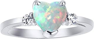 CloseoutWarehouse Cubic Zirconia Heart Promise Ring Sterling Silver (Color Options Size 3-15)