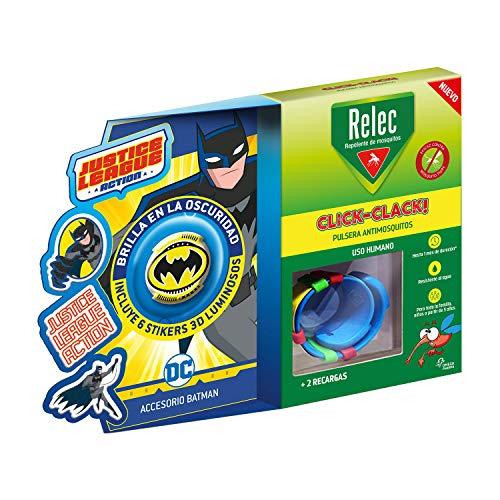 Relec Pulsera Antimosquitos Batman - Eficaz contra el mosquito tigre. Resistente al agua, Contiene 2 recargas