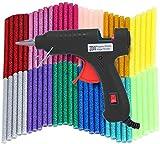 ホットメルトグルーガン 低温 軽量グルーガン グルースティック60本付属 手芸用 プラスチック用グルーガン DIY工具 修理 接着剤道具 過熱保護 強力粘着 (黒)