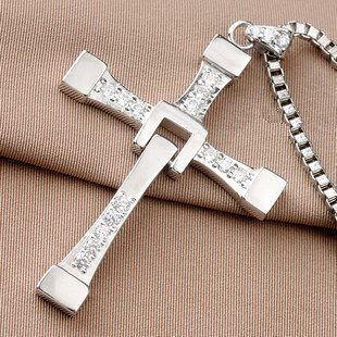 Baham Biggest Size Silver-Like Fast and Furious Dominic Toretto's Cross Necklace Pendant Size:70mm50mm 25Grams