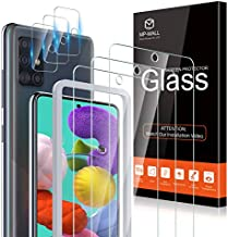 MP-MALL 3 Pack Screen Protector and 3 Pack Camera Lens Protector Compatible for Samsung Galaxy A51, Galaxy A51 5G, Galaxy A51 5G UW Tempered Glass Alignment Frame Installation, 9H Hardness Bubble free