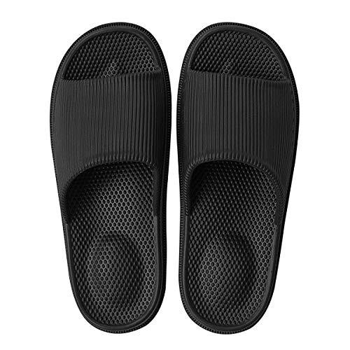 Decai Herren Damen Bade Latschen Dusch-& Badeschuhe Hausschuhe Slippers Sommer Slide Flip Flops Massage Frauen Pantoletten Badelatschen Schwarz 35 EU