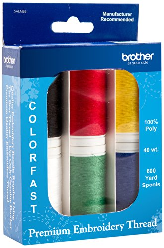 Brother SAEMB6 Premium Embroidery Thread, 6 spools, 100 percent polyester,Various