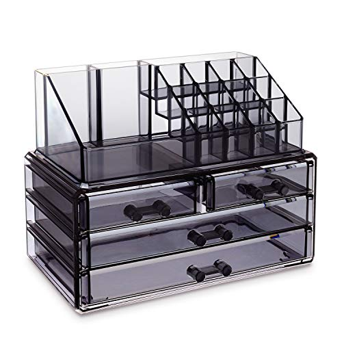 Ikee Design Jewelry and Cosmetic Storage Makeup Organizer Two Pieces Set, Translucent Gray