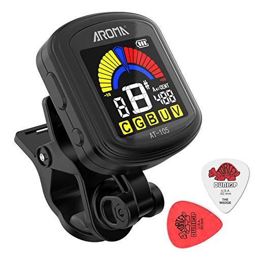 Gitarrentuner USB Wiederaufladbarer Clip-On-Tuner (mit mitgeliefertem Ladekabel),360-Grad-Rota-Tisch VA-Bildschirm,mit Gitarre,Ukulele,Violine,Bass,Chromatisch