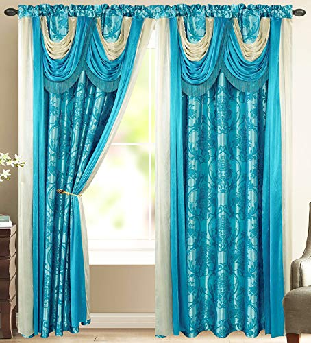 Bella Luxury Jacquard Curtain Panel with Attached Waterfall Valance & Scarf 54 by 84-Inch Blue