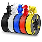 5 Pack 3D Printer Filament, Dveda 1.75mm 250G PLA 3D Printing Filament 1250G in Total, 5 Colors Dimensional Accuracy +/- 0.03 mm Widely Compatible for 3D Printing ( Black, Red, White, Blue, Yellow )