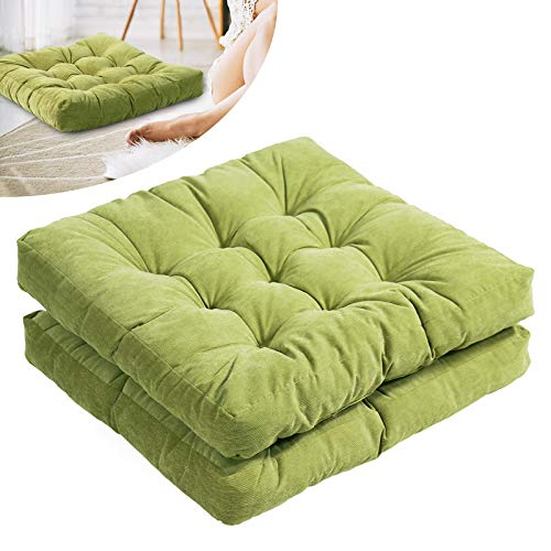 Tiita Floor Pillows Chair Cushion Square Meditation Pillow for Seating Patio Office Outdoor Thick Tufted Pillow for Yoga Living Room Sofa Balcony Garden Set of 2, 22x22 Inch, Green