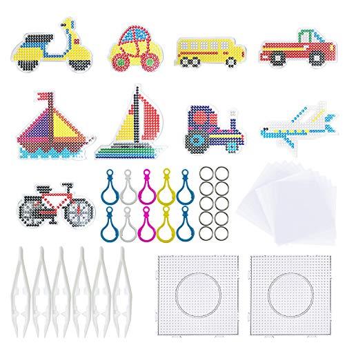 Allazone 37 Stück Bügelperlen Stiftplatten Platten Bügelperlen 11 Stück Transport Auto Bügelperlen Steckplatten mit Perlen Pinzette, Bügelpapier und Schnalle Aufhängen