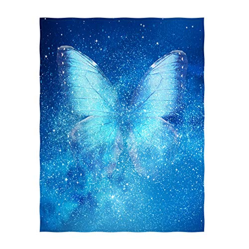 QH 58 x 80 Inch Universe & Butterfly Super Soft Throw Blanket for Bed Couch Lightweight Blanket for All Seasons