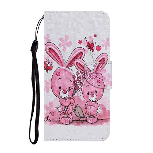Miagon für Xiaomi Mi Note 10 Lite Hülle,Bunt Muster Handytasche Flip Case PU Leder Cover Magnet Schutzhülle Ständer mit Kartenfach Magnetisch,Hase