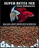 Super Betta Floating BIT Mix,Krill,Spirulina,Betta,Gourami,Fish Food,#2 (2oz)