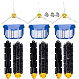 Compatible with iRobot Roomba 600 620 630 650 660 Robotic Vacuum Cleaner Parts Replenishment Mega Accessories Bristle & Flexible Beater Brushes& 3-Armed Brushes & Aero Vac Filters Kits