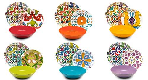 Excelsa Lisbona Vajilla de 18 piezas, porcelana y cerámica, multicolor