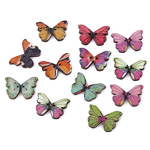 Ristiege - Etiqueta de mariposa con botones de madera ovalados de madera hechos a mano para manualidades, costura y decoración de ropa