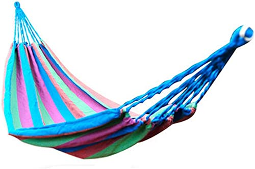LSXLSD Camping Hammock-Portable-Outdoor, Randonnée pédestre, Randonnée pédestre, Voyage, Plage, Jardin - 190cm (6.2foot) x80cm (2.6foot) - Bleu + Rose Rouge
