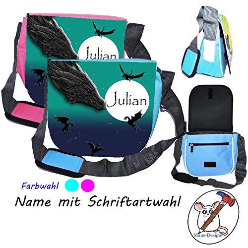Drachen Kindergartentasche mit Name/Schriftartwahl/Kindertasche/Kindergarten/Kindergerechte Tasche/Tasche mit Name/Personalisierte Tasche/Drachenland