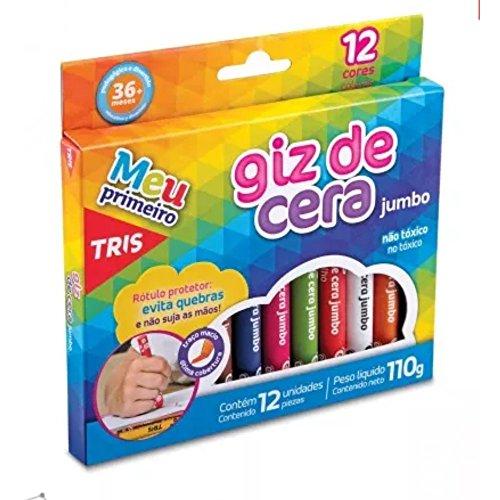 Giz De Cera Jumbo Triangular - 12 Cores - Tris