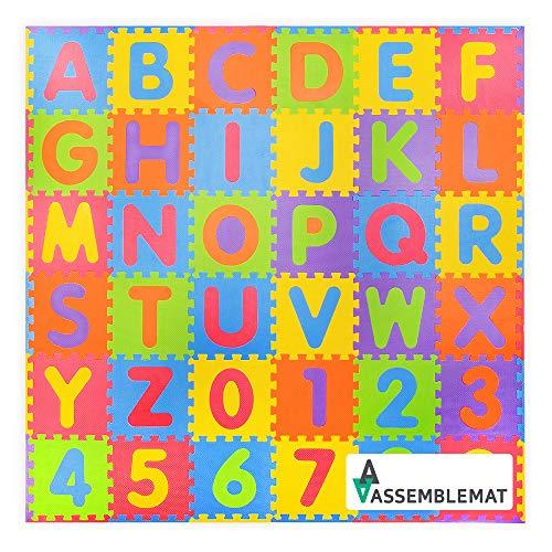 Assemblemat®-36 Stück Soft Numbers und Alphabet Spielmatten mit Kanten-Interlocking für Kinder-Activity Puzzle Playmats-Bodenschutz-Eva Foam Gummi Zahlen Mat-0-9 und Alphabet Matten A-Z=36