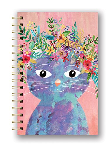 Studio Oh! Medium Hardcover Spiral Notebook, Fancy Cat