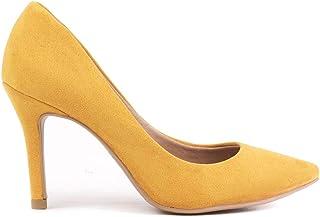 Scarpin Claire Aveludado Salto Alto Fino Bico Fino Amarelo