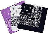 Pack 3 Pañuelos Bandanas Paisley de Algodón 55x55cm para Cuello o Cabeza Múltiuso Unisex (lila+blanco+negro, Talla única)