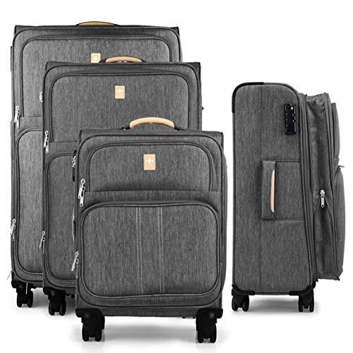 Juego de 4 maletas ligeras y robustas para mujer y hombre de viaje 55 + 67 + 77 + 87