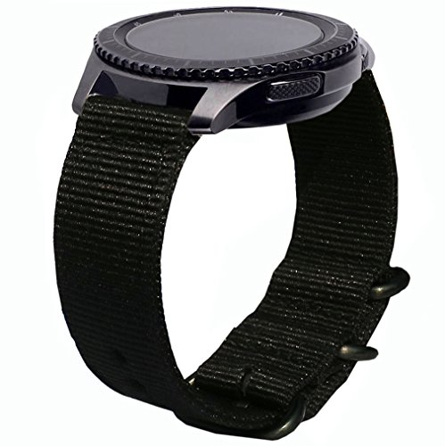 Olytop for Galaxy Watch 3 45mm/Gear S3 Bands, 22mm Quick Release Woven NYLON NATO Band Soft Replacement Strap Wristband for Samsung Galaxy Watch3 45mm/Galaxy Watch 46mm, Moto 360 2 46mm SmartWatch - Black