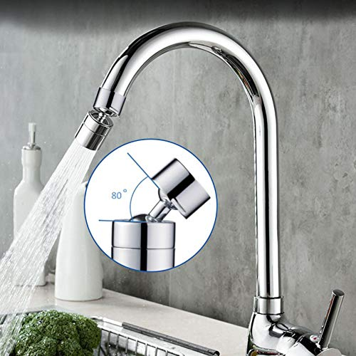 clacce 2020 Universal Splash Filter Faucet, 20/80/360 °Rotate Water Outlet Faucet Sprayer Head Anti-Splash, Oxygen-Enriched Foam, Leakproof Design with Double O-Ring (360°Rotieren, Silber)