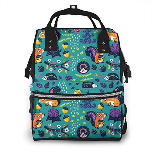 UUwant Sac à Dos à Couches pour Maman Large Capacity Diaper Backpack Travel Manager Baby Care Replacement Bag Nappy Bags Mummy Backpack,(Fox Hedgehog and Fruit in The Forest